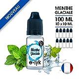E-liquide saveur Menthe Glaciale 100 ml en 0 mg de nicotine - 10 x 10 ml - SANS NICOTINE - marque E-lyk