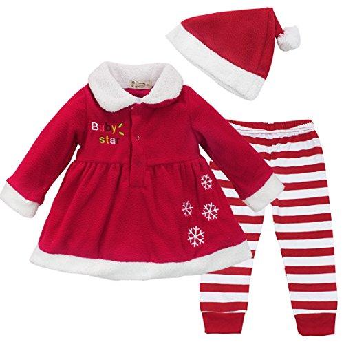 iEFiEL Conjuntos de Tres Piezas Navidad Fiesta Vestido + Pantalones Rayas + Gorro para Bebé Niña Disfraces Chaqueta Rojo 12-18 Meses