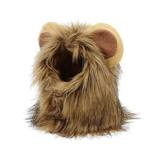 Haustier Kostüm, Löwe Cosplay Löwenhaube mit Ohren, Welpen Kätzchen Hut Kopftuch, für Hunde Katze Halloween Karneval, SML (Color : -, Size : S)