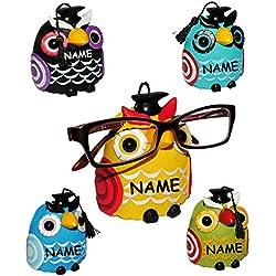 """1 Stück __ Brillenhalter - """" verschiedene Eulen """" incl. Namen - stabil aus Kunstharz - universal Größe - für Erwachsene & Kinder / Brillenhalterung - lustiger Brillenständer - für Sonnenbrille Lesebrille - Brillenablage / Eule Vögel lustige Schule Prüfung"""