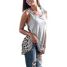 Honghu Leopardo Cuello Camiseta de Sin Mangas Mujer
