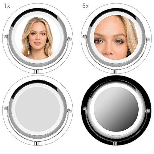 Navaris Kosmetikspiegel mit LED Beleuchtung – Spiegel mit normaler und 5-facher Vergrößerung – Schminkspiegel beleuchtet 360° drehbar - 6