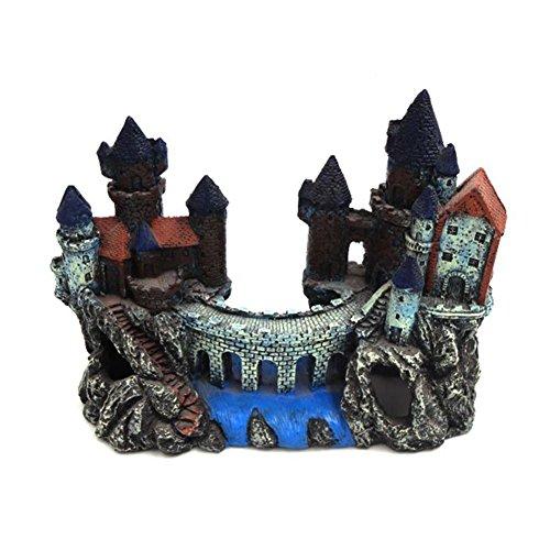 SRQLC Acuario Fish Tank Ornament Resina de Dibujos Animados Castillo Torre Paisaje Underwater Decoración