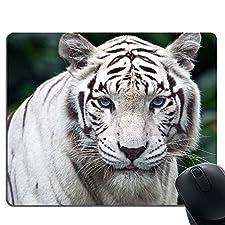 Niedliches weißes Tiger-Mauspad, rutschfeste Gummibasis und genähtes Rand-Gaming-Mauspad