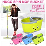 #3: Hugo Mop Bucket Magic Spin Mop Bucket Double Drive Hand Pressure With 2 Microfiber Mop Head Household Floor Cleaning & 4 Color May Vary (With Soap Dispenser)