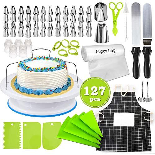 Decorazione torte set, fantasyday 50 pz ugello in acciaio inossidabile bocchette decorative per pasticceria con 54 sac a poche, 5 accoppiatori, 5 spatola, 1 chiodi per fiori, piatto rotante torta