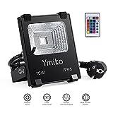 Ymiko 10W RGB LED Fluter mit Fernbedienung, Floodlight Strahler 16 Farbwechsel und 4 Modi IP65 Außenleuchten Wasserdicht, Memory-Funktion LED Strahler, Europäischer Stecker [Energieklasse A+]