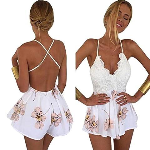Long White Halter Dress - LILICAT Womens Dentelle Impression sexy sling V
