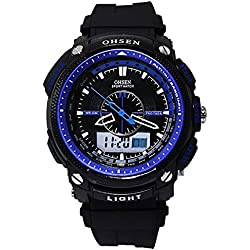Pixnor Ohsen AD1209 Waterproof Mens Dual Time Sports Digital Quartz Wrist Watch with Date /Alarm /Stopwatch (Blue)