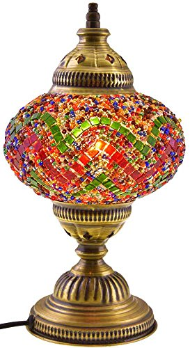 Turkish Moroccan Tiffany Mosaic Glass Table Bedside Bed Desk Lamp Lampshade, 18cm (Colorful)