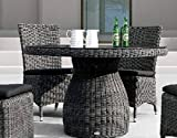 Destiny Collection Gartentisch Santos 120 cm Grau Geflechttisch Esstisch Tisch