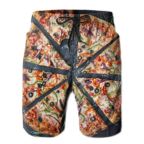 kslae Baked Pizza Athletic Men's Quickly Drying Board Shorts Swim Trunk