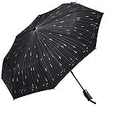 Richoose Regenschirm Taschenschirm, Automatischer Klappbarer Regenschirm mit LED-Licht, Kompakt Auto on & Off Reise Regenschirm für Männer und Frauen, Nicht nass Winddichte Regenschirm - Meteor