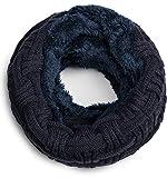 Grin&Bear warmer weicher Loop Schal mit Strick Muster und weichem Fleece Innenfutter A21-8