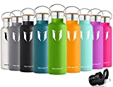 Super Sparrow Stainless Steel Vacuum Insulated Water Bottle, Double Wall Design,Standard Mouth – 750ml – Eco Friendly & BPA Free – For Running, Gym, Yoga,Cycling, Outdoors and Camping, Car – Ideal as Sports Water Bottle – with 2 Exchangeable Caps (Apple Green, 750ml-25oz)