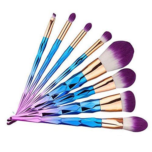 Denshine Ensemble de brosse à maquillage Pro Fondation Poudre Blush Ombre à paupières Eyebrow Eyeliner Lip Brushes Kit Cosmetic Tools makup brush (7PCS)