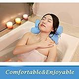 Coussin de Bain, Oreiller Baignoire pour Bain Relaxant ou Spa Familiale, Oreiller Anti-Moisissure Sèche Rapide et Comfortable - Bleu