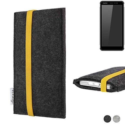 flat.design Handy Hülle Coimbra für Ruggear RG850 passgenau Handytasche Filz Tasche fair schwarz gelb