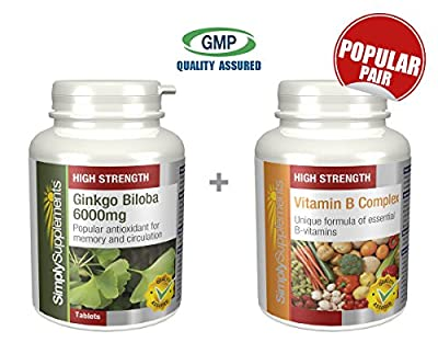 SimplySupplements Ginkgo Biloba 6000mg 120 tablets + Vitamin B Complex 120 tablets | For normal circulation to the extremities and brain function by Simply Supplements