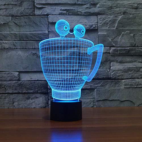 SFALHX 3D LED NachtlichterKreative Teetasse 7-Farben ändern Touch Tisch Schreibtisch Lampe Lampe Acryl Flat & ABS Base Weihnachts für Kindergeburtstag Bestes Geschenk der festlichen Raumdekoration