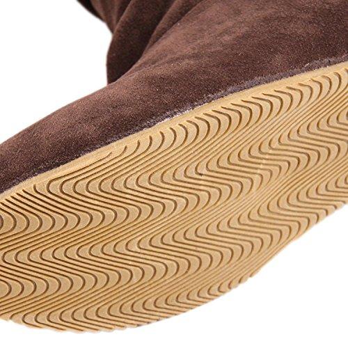 Minetom Donna Autunno Inverno Elegante Casuale Piatta Scarpe Stivali Slouchy Stivali Da Neve Lunghi Stivali Marrone