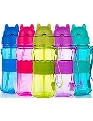 Botella de Agua Niños y Niñas Sin BPA Botella de Agua Deporte con Pajita y Correa para Infantil, Escuela, Corrida, Senderismo y Actividades al Aire (Verde)