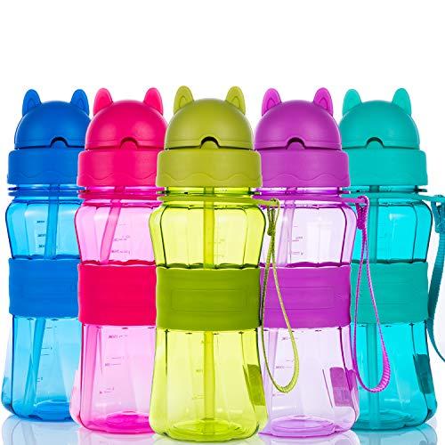 Botella de Agua Niños y Niñas Sin BPA Botella de Agua Deporte con Pajita y Correa para Infantil, Escuela, Corrida, Senderismo y Actividades al Aire (Azul Claro)