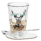 RITZENHOFF A Cuppa Day Macchiatoglas, Glas, schwarz/weiß / türkis/orange, 8.3 cm