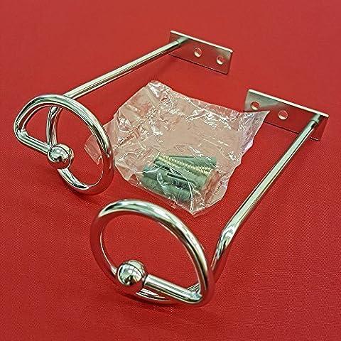 Easy-Shadow - 2 Stück Hochwertige Drapierhaken verchromt für Gardinen / Gardinenschals / Querbehänge / Vorhänge - Haken aus Metall zur Dekoration von Schals / Stores inkl. Montagematerial - verchromt
