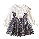 Kobay Kleinkind Kinder Baby Mädchen Spitze t-Shirt Tops + Plaid Rock Outfits 2 stücke Kleidung Set(4-5T,Weiß)