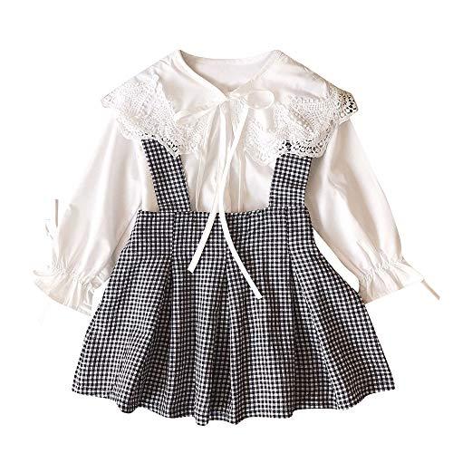 Kobay Kleinkind Kinder Baby Mädchen Spitze t-Shirt Tops + Plaid Rock Outfits 2 stücke Kleidung Set(5-6T,Weiß) (Baby-kleidung Rock Hard)
