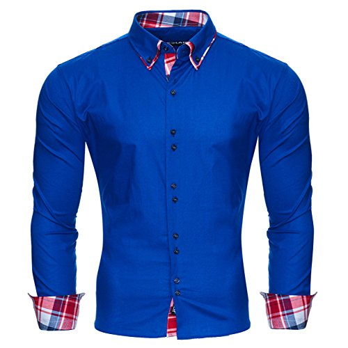 Reslad Herren Hemd Button-Down Slim Fit Bügelleicht RS-7015 Blau