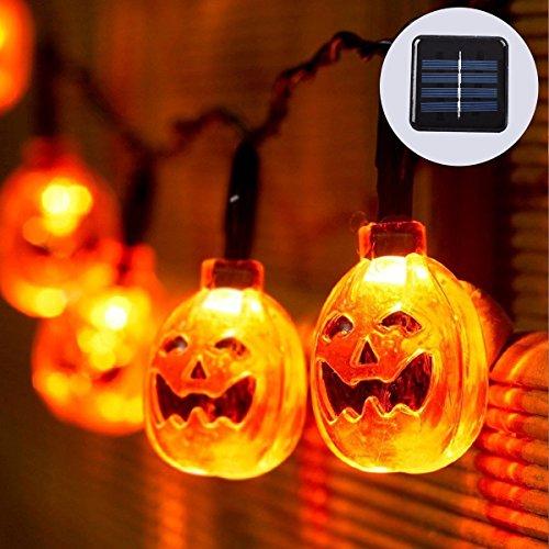 LED Solar Lichterkette, 16ft 20LEDs 8Modelle, OGG solarbetrieben 3D Halloween-Kürbislaterne Kürbis Lichterkette Halloween Dekoration Lichter, warm, weiß