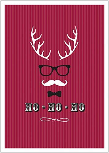(Erhältlich im 1er 4er 8er Set: Ho, Ho, Ho Moderne Coole lustige Hipster Weihnachkarte Klappgrußkarte Gutschein mit Hirschgeweih, Brille, Fliege und Schnurrbart in Rot mit Umschlag (8))