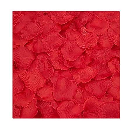 FEITONG 2000pcs Silk Rose Petals Fleur artificielle Confetti Wedding Favor Bridal Shower Aisle Decor (Rouge)