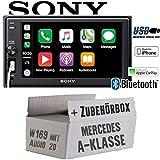 Mercedes A-Klasse W169 Audio 20 - Autoradio Radio Sony XAV-AX1000-2DIN Bluetooth | Apple CarPlay | USB - Einbauzubehör - Einbause
