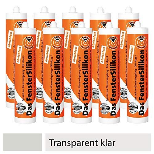 10er SET PTW Silikon neutralvernetzend und abriebfest - TRANSPARENT KLAR / Dichtstoff / Silicon / Fugensilikon -