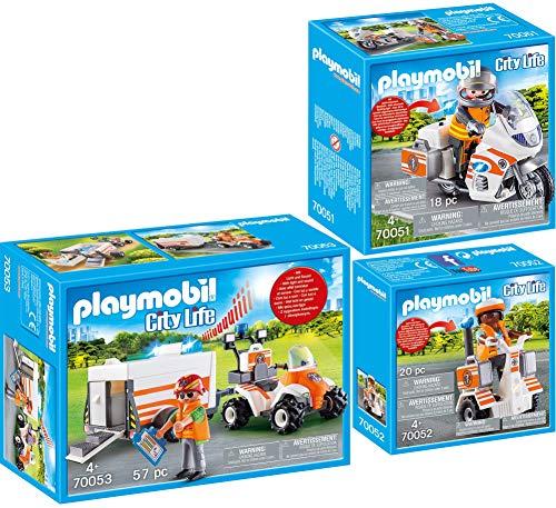 PLAYMOBIL® City Life 3er Set 70051 70052 70053 Notarzt-Motorrad mit Blinklicht + Rettungs-Balance-Roller + Quad mit Rettungsanhänger