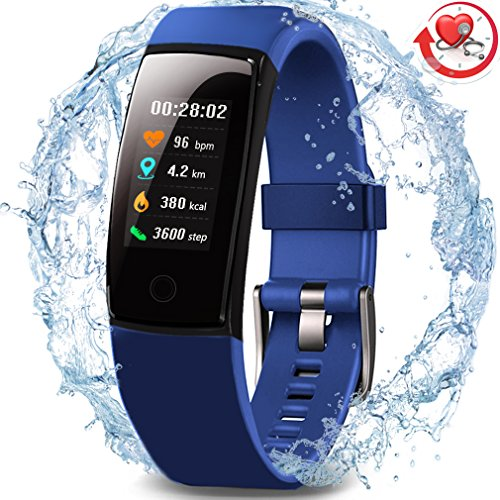 Wasserdichter Aktivitäts-Tracker, MorePro Farbdisplay Fitness Tracker mit Herzfrequenz-Blutdruckmessgerät, Schwimmen Smart Armband Pedometer Uhr mit Schlaf-Monitor für Frauen Männer Kinder, - Blutdruck Dock