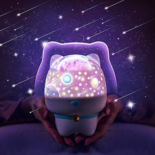 AOLVO 3 in 1 Drehung Projektor Nachtlicht mit BT Lautsprecher,Fernbedienung & Clap Sensor Cartoon Star Nachtprojektions Licht mit 5 Helligkeit,6 Projektor Filme für Kinderschlafzimmer,Weihnachten