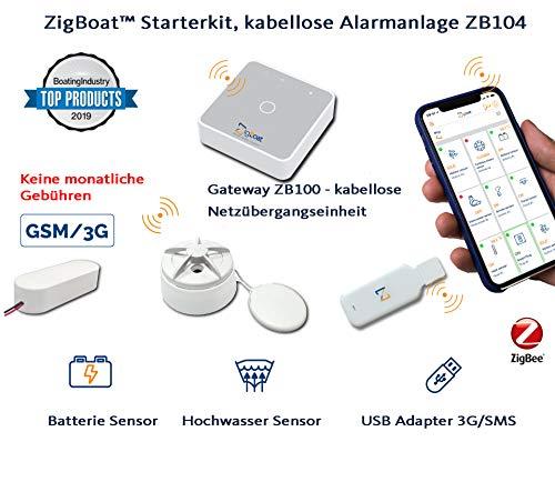 Glomex ZigBoat 104 kabellose Alarmanlage Kontrollsystem für Boot Schiff Yacht Connectivity Kit Zigbee Überwachungssystem ZB104 Android Apple ios Gateway + USB Stick + Wassersensor -