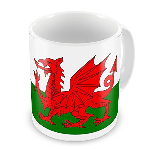 Taza de café de Gales (Cymru) bandera región: Reino Unido–Neon