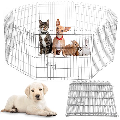 Safekom Extra Large 91x61CM Heavy Duty 8 Panel Pet Play Pen Folding Fence Crate Guinea Outdoor Playpen Wire Dog Puppy Animal Rabbit Training Cage Carrier Run Garden - 1 Year Warranty Free & Fast Same Day Dispatch UK Seller