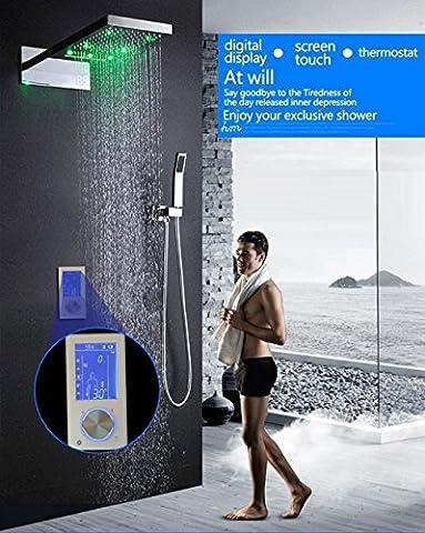 hm Contrôle numérique de la douche Contrôleur de douche Touch Control Panel Rainfall Massage Celling Salle de bain Thermostat Waterfall LED Shower Set