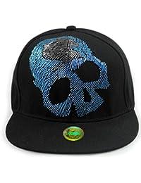 LOCOMO Black Blue Skull Skeleton Gothic Beaded Rivet Baseball Cap FFH286BLK