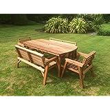 Muebles de jardín de madera. 6'Juego de mesa 2Bancos y 2sillas