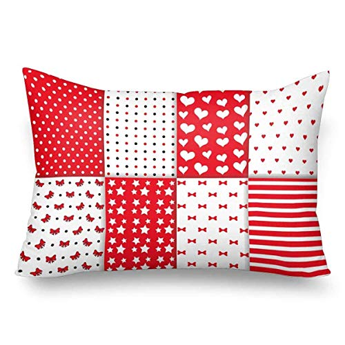 Gxdchfj Polka Dot Lined Textile Stars Hearts Bow Ribbon Stripes Pattern Pillow Cases Pillowcase Standard Size 20x30,Rectangle Pillow Covers Protector for Home Couch Sofa Bedding Decorative