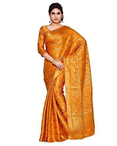 Mimosa By Kupinda Women\'s Art Silk Saree Kanchipuram Style (Latest Designer Sarees /Party wear sarees /New collection sarees) (4144-138-SD-MST) Color: Rust