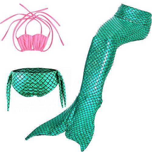 HHD 3Pcs establece bañadores niña Traje de baño Bañador De Sirena Disfraz De Princesa Bikini niña...