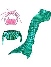 HHD 3 Pezzi Costumi da Bagno Ragazza della coda della sirena Mermaid Sirena Costume da Bagno Bikini